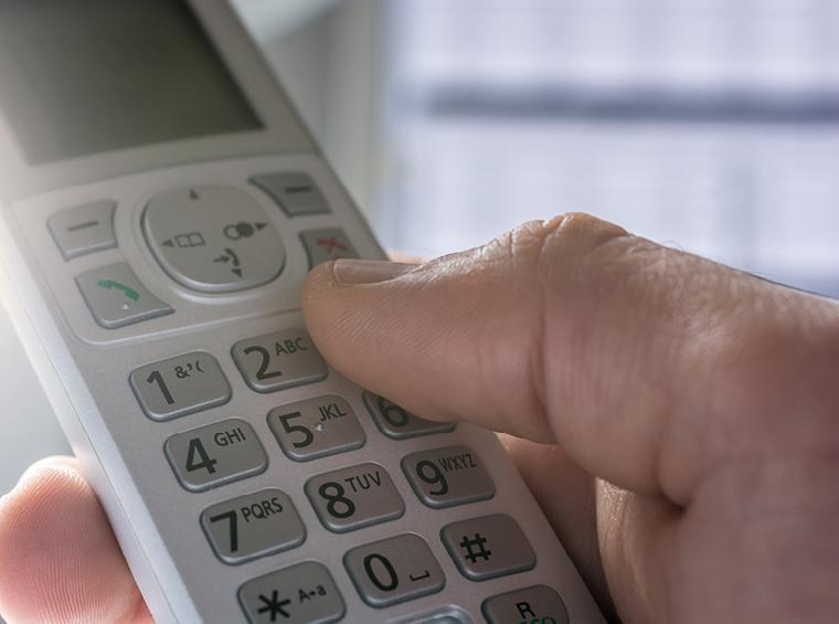 Up close of a landline phone